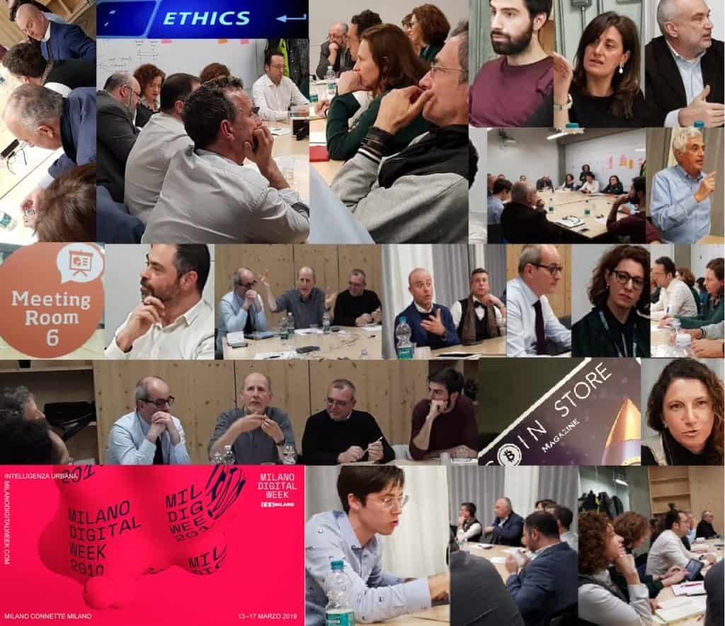 photowall dei  partecipanti all'incontro Blockchain Ethos
